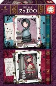 Santoro London - Puzzle sada 2x100 dielov - Gorjuss - Rapunzel & Litlle Red Ridding Hood