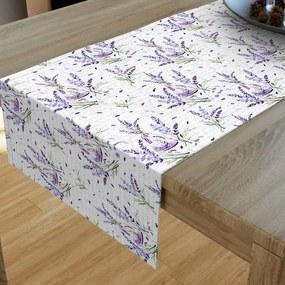 Goldea dekoračný behúň na stôl loneta - vzor levandule vo váze 20x120 cm
