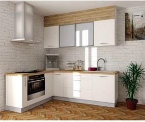 Sconto Rohová kuchynská zostava FACHMAN B12, 172x247 cm dub alicante/biela vysoký lesk