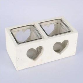 Biely drevený svietnik na dve sviečky Dakls Heart