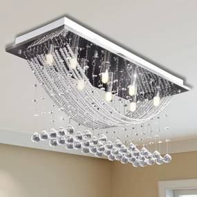 vidaXL Biela stropná lampa s krištálikmi 8 x G9 29 cm