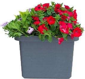 Antracitovosivý veľkoobjemový samozavlažovací kvetináč Plastia Berberis UNO, 27 l