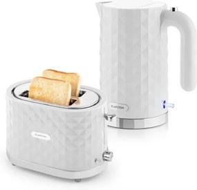 Klarstein Granada Bianca, biela, raňajková sada, 2200 W rýchlovarná kanvica + 1000 W hriankovač