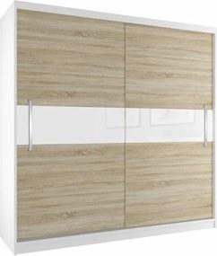 Objemná skriňa s posuvnými dverami dub sonoma a skleneným pruhom šírka 200 cm biely korpus Hliníkové