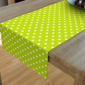 Goldea bavlnený behúň na stôl - vzor biele bodky na svetle zelenom 20x160 cm