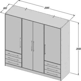 Šatníková skriňa Jupiter, 207 cm, sivý betón/biela