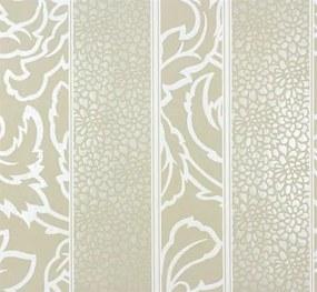 Vliesové tapety, pruhy bielo-hnedé, Messina 55412, Marburg, rozmer 10,05 m x 0,53 m
