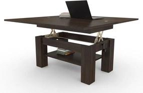 BRAVO s policou, wenge, rozkladacia, zdvíhací konferenčný stôl, stolík s poličkou