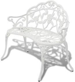 Záhradná lavica z liateho hliníka, biela