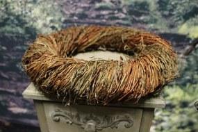 Prírodný hnedý veniec zo stebiel tráv 35cm