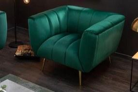 IIG -  Dizajnové kreslo NOBLESSE 105 cm smaragdovo zelená, zamat