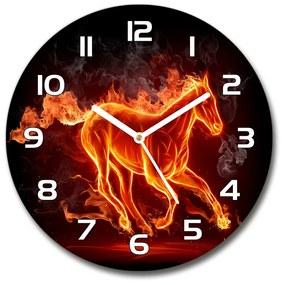 Sklenené hodiny okrúhle Kôň v plameňoch pl_zso_30_f_11746508