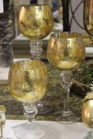 Zlaté sklenené svietniky na stopke 3-set