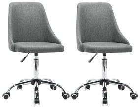 vidaXL Kancelárske stoličky na kolieskach 2 ks bledosivé látkové