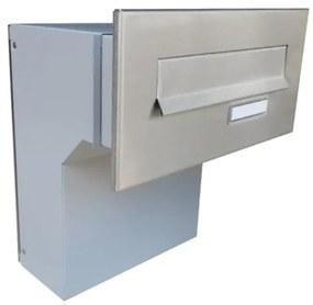Nerezová robustná poštová schránka DLS-F-046 na zamurovanie do stĺpika, čelná doska s menovkou
