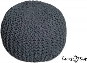 CrazyShop pletený PUF SOLID, tmavo šedá