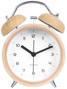 Karlsson Dizajnový budík Classic Bell Wood/White