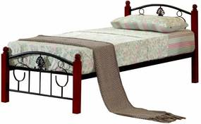 TEMPO KONDELA Magenta 90 kovová jednolôžková posteľ s roštom čierna / tmavý dub