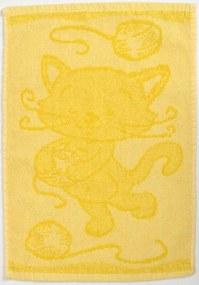 Detský uterák BEBÉ mačička žltý 30x50 cm