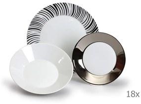 Sada 18 porcelánových tanierov s čiernymi prúžkami Thun Tom