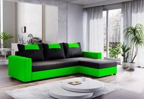 Expedo Rohová rozkládací sedačka COOPER, 232x144, černá/zelená, mikrofáze04/U062