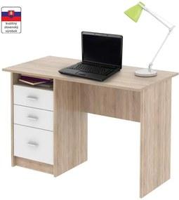 PC stôl, dub sonoma/biela, SAMSON NEW