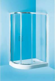 HOPA - Sprchový asymetrický kout s vaničkou IBIZA II - 197 cm, 100 cm × 80 cm, Levé (SX), Hliník chrom, Čiré bezpečnostní sklo - 5 mm (OLBIBI210L)