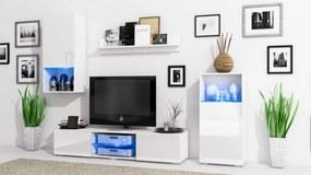 Elegantná obývacia stena LOFT Biely mat / Biely lesk