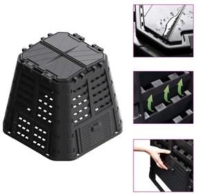 vidaXL Záhradný kompostér, čierny 93,3x93,3x80 cm, 480 l