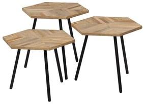 vidaXL 3-dielna súprava konferenčných stolíkov recyklované teakové drevo šesťuholníková