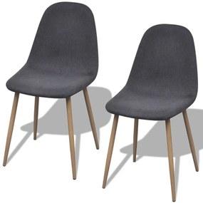 242090 vidaXL Tmavo šedé látkové kuchyské stoličky bez opierok, železné nohy 2 ks