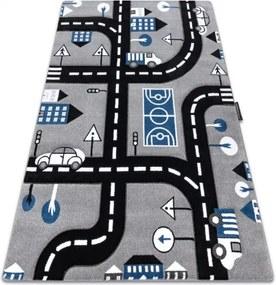 Metrážny koberec PETIT CITY MESTO ULICE ULIČKY sivý - 50x200 cm