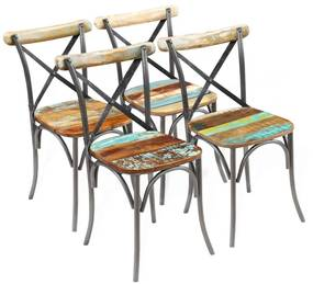 Jedálenské stoličky z masívneho recyklovaného dreva, 4 ks, 51x52x84 cm (2x243722)