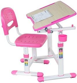 FD Rastúci písací stôl pre deti Pikolo II Farba: Ružová