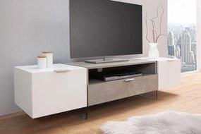 Dizajnový TV stolík Livid / biela - betónová