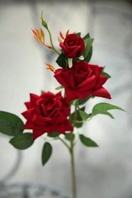 Červená umelá zamatová trojkvetá ruža 65cm