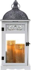 Drevený lampáš s čipkovanou ozdobou MSL2086 - biely (22x22x50 cm) - vidiecky štýl