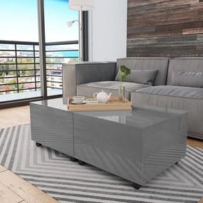 vidaXL Konferenčný stolík sivý 120x60x35 cm vysoko-lesklý