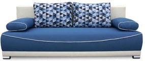 TEMPO KONDELA Pohovka rozkladacia, s úložným priestorom, látka modrá/béžová/vankúše vzor, DINAR