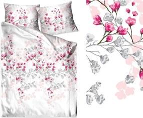 DomTextilu Biele posteľné obliečky s motívom kvitnúcich vetiev 3 časti: 1ks 200x220 + 2ks 70 cmx80 Ružová 35139-167326