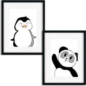 Plagáty pre deti - Čierno biela panda a tučniak - 2 x A3