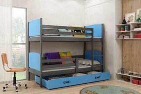 Poschodová posteľ - TAMI - 190x80cm - GRAFITOVÁ - MODRÁ