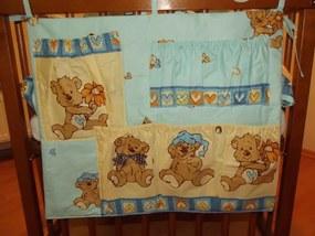 SDS Vreckár na postieľku Veselý medvedík modrá Bavlna 50x40 cm