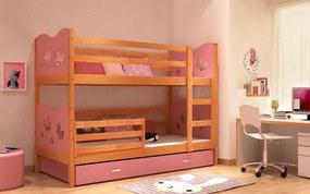 Super poschodová posteľ MAX 185x80 ružová