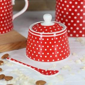 Isabelle Rose Porcelánová cukornička s bodkami - červená