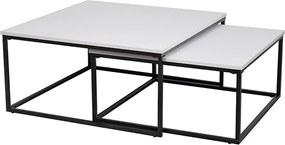 Set dvoch konferenčných stolíkov, matná biela/ čierna, KASTLER TYP 1