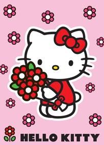 Vopi Detský koberec Hello Kitty Red flowers ružový 95x133 cm