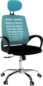 TEMPO KONDELA Elmas kancelárske kreslo s podrúčkami modrá / čierna
