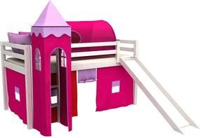 BM Vyvýšené postele Gabika so šmýkačkou a vežou Biela