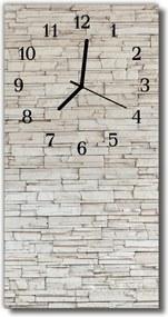 Sklenené hodiny vertikálne  Kamenná múr béžová